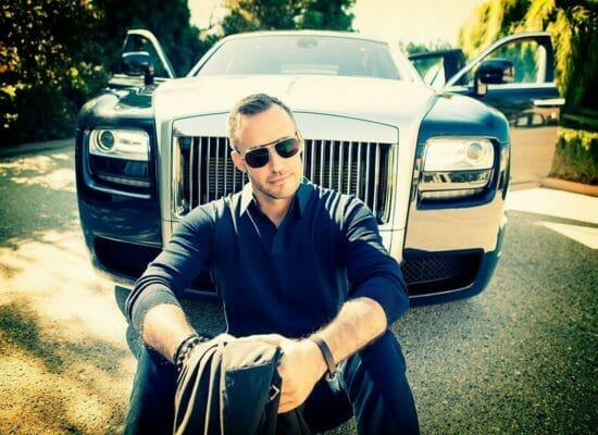 Gyorgy Gattyan chilling out in front of his Rolls Royce in Los Angeles, California